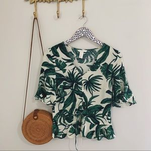 Palm Leaf Print Cinched Flowy Blouse